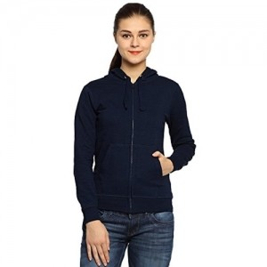 ADRO NavyBlue Solid Cotton Hooded Sweatshirt
