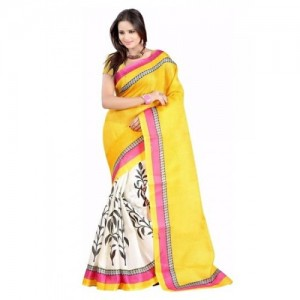 Ishin Printed Fashion Art Silk Sari
