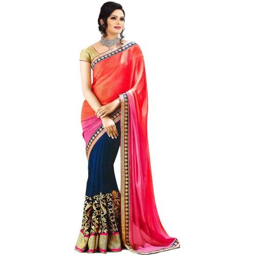 Glory Sarees Self Design Bollywood Georgette Sari