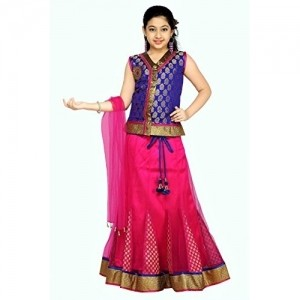 Aarika Self Design Girl\'s Lehenga, Choli and Dupatta Set