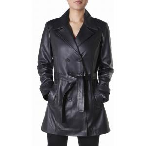 Theo&Ash Black 100% Leather Solid Trench Coat Jacket