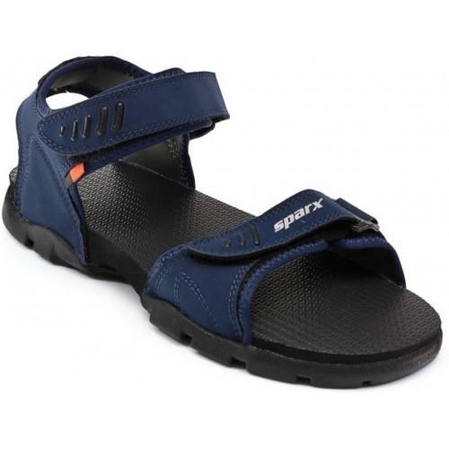 Sparx Men Navy Blue Orange Sandals