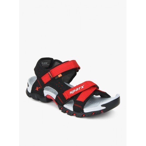Sparx Black & Red Synthetic Athletic and Outdoor Sandals