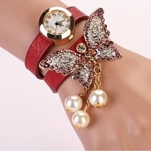 GirlZ! Maroon Bracelet With Quartz Analog Watch