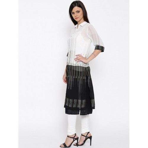 BIBA Off-White & Black Polyester Striped Kurta