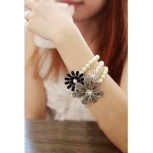 Shining Diva White & Black Alloy Bracelet