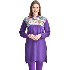 Kritika's World Women's Purple Printed Kurti