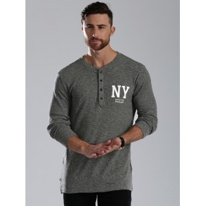 Tommy Hilfiger Men's Grey Melange Henley T-Shirt