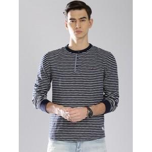 Tommy Hilfiger Men's NavyBlue & White Striped Henley T-shirt