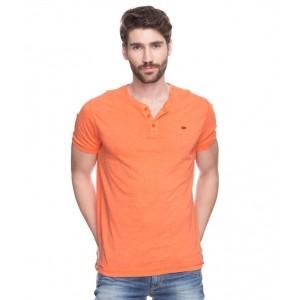 Spykar Orange Solid Cotton Henly T-Shirt