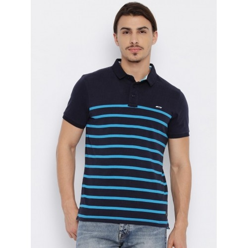 2019 professionista comprare in vendita ultima selezione Buy Jack & Jones Navy Blue Striped Polo Collar T-shirt online ...