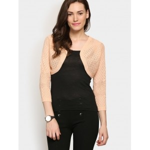Only Women's Peach-colored Cropped Cardigan