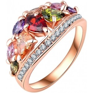Jewels Galaxy Multicoloured Copper Ring