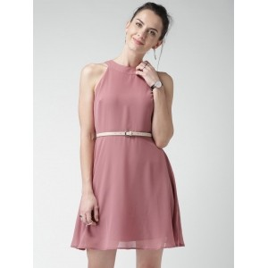 Mast & Harbour Dusty Pink Georgette Fit & Flare Dress