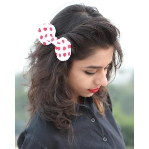 Voylla Red Dotted Bow Tie Cum Hair Pin