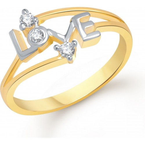 VK Jewels Golden Cubic Zirconia Alloy Ring