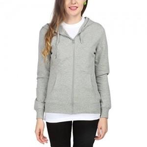 Campus Sutra Grey Hooded Women's Sweatshirts