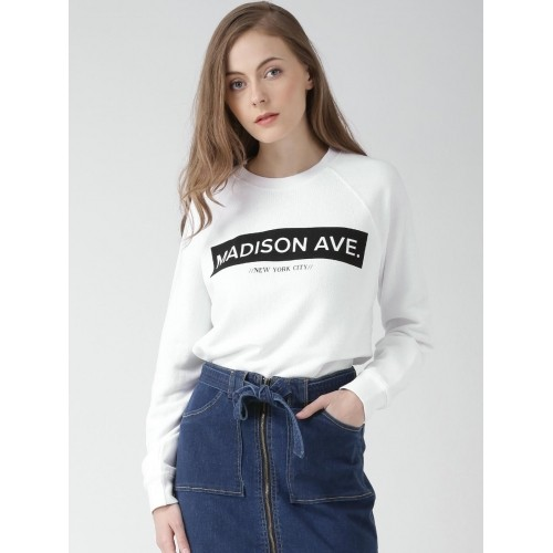 FOREVER 21 White Cotton Printed Sweatshirt