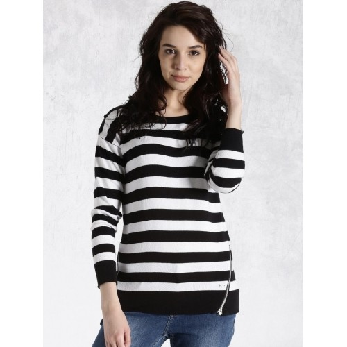 Roadster Black & White Cotton Striped Sweater