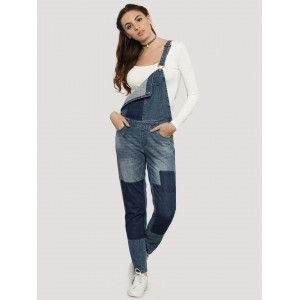 Only  Contrast  Patch Denim Dungaree