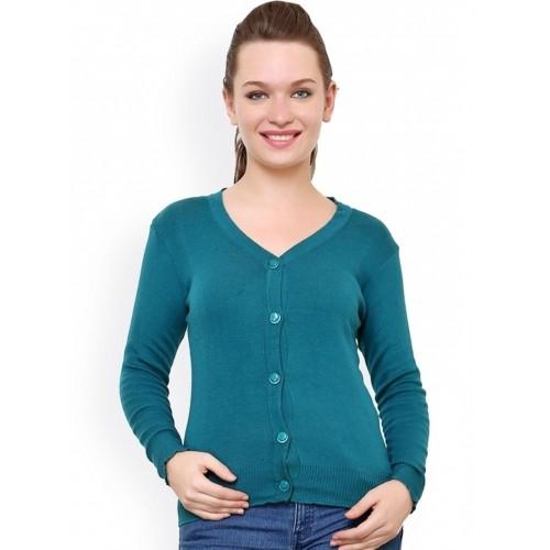 Renka Teal Green Cotton Solid Cardigan