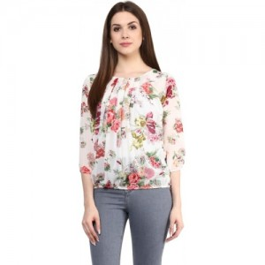Mayra Off White Georgette Regular Fit Top