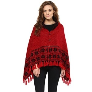Cayman Red Reversible Solid Woollen Poncho