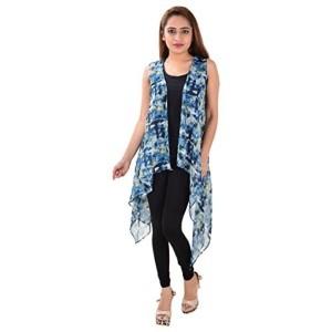 792c94cce62b04 Serein Women s Blue Printed Shrug