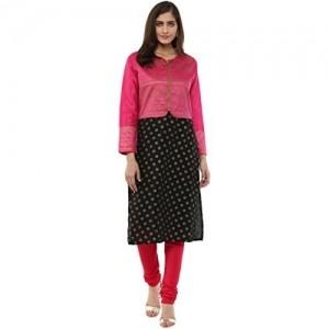 Akkriti by Pantaloons Pink Printed Round Neck Jacket