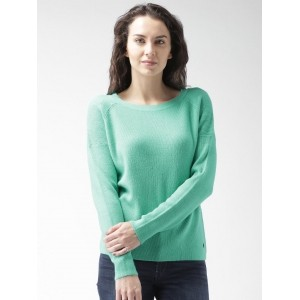 Mast & Harbour Green Cotton Solid Sweater