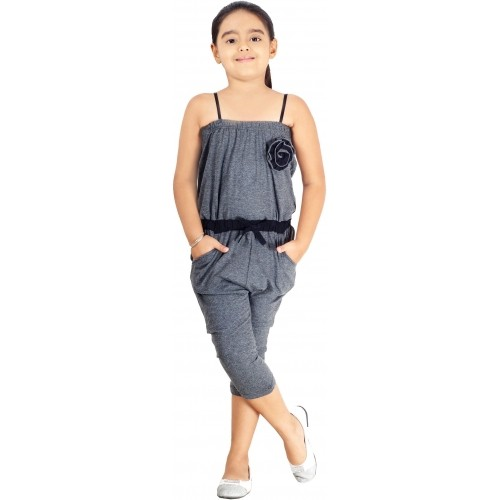 Naughty Ninos Gray Solid Girls Jumpsuit