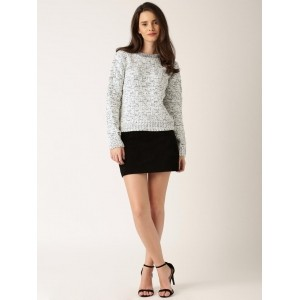 DressBerry Off-White & Black Cotton Solid Sweater