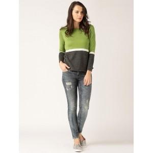 DressBerry Green & Grey Colourblock Sweater