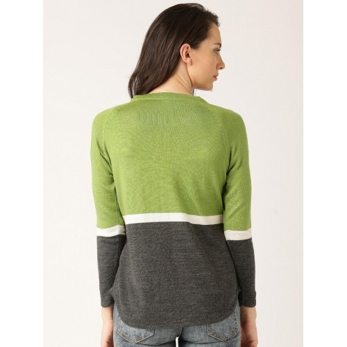 DressBerry Green & Grey Colourblock Sweater