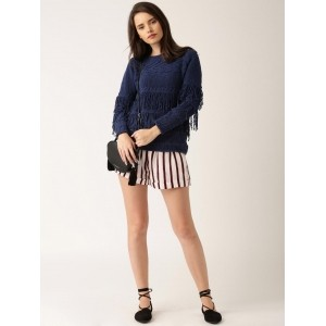 DressBerry Navy Blue Solid Sweater with Fringes