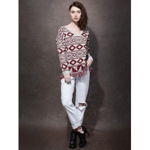 Roadster Grey & Maroon Patterned Sweater