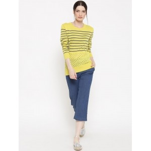 United Colors of Benetton Yellow Striped Sweater