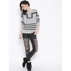 Roadster Grey Patterned Sweater
