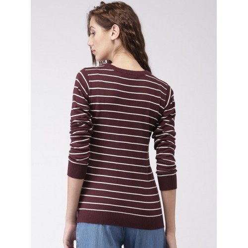 Buy Ms.Taken by Kriti Burgundy & White Striped Sweater online ...