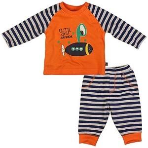FS Mini Klub Orange & Blue Cotton Boys' Nightwear Pj Set
