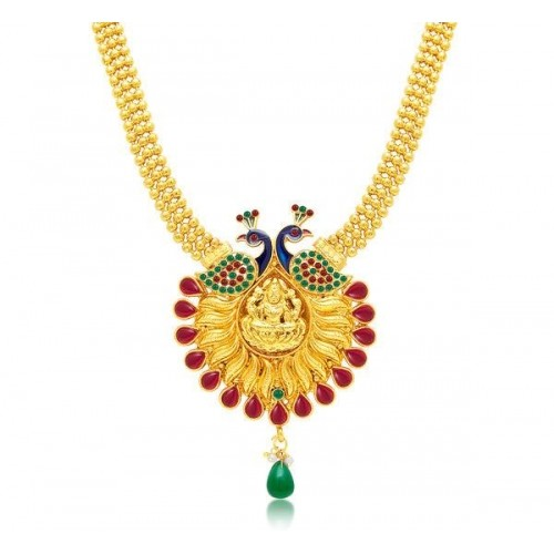 Sukkhi Attractive Laxmi Temple Peacock Gold Plated Necklace Set