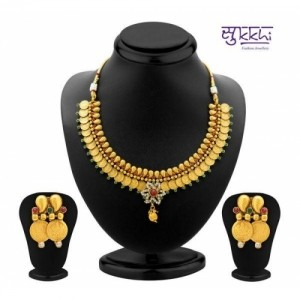 Sukkhi Ravishing Gold Plated Temple Jewellery Coin Necklace