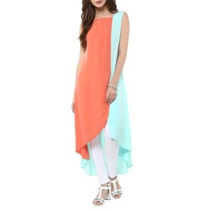 Jansya Peach & LightBlue Color Block & High Low Kurti