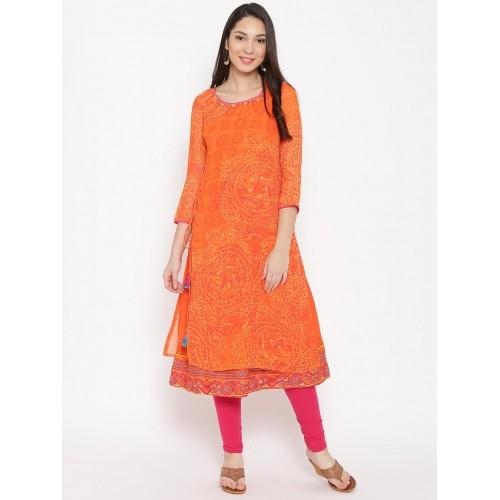 4aad744d9 Buy Biba Women Orange Printed Layered Straight Kurta online ...