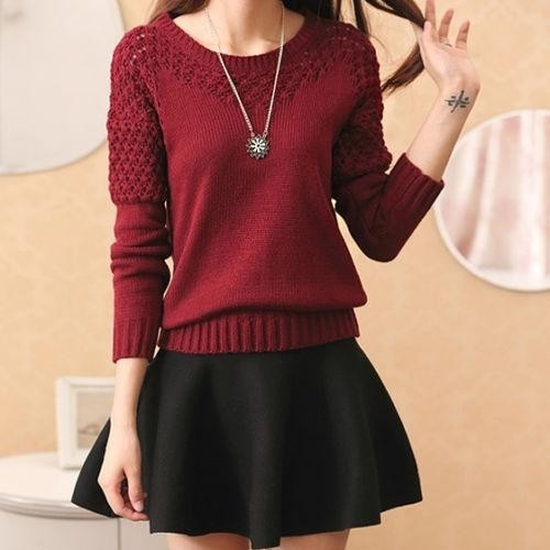 Zafraa Maroon Knitted Sweater