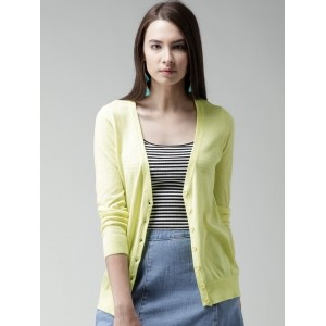 FOREVER 21 Yellow Solid Cardigan
