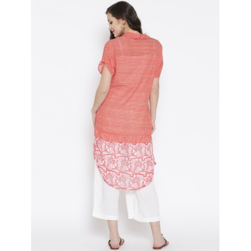 BIBA Red & White Cotton Striped High-Low Kurta