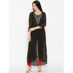 Biba Black Polyester &Elastence Sheer Embroidered A-Line Kurta