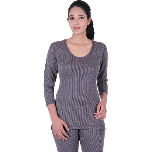 Zimfit Gray Solid Thermal Round Neck Top