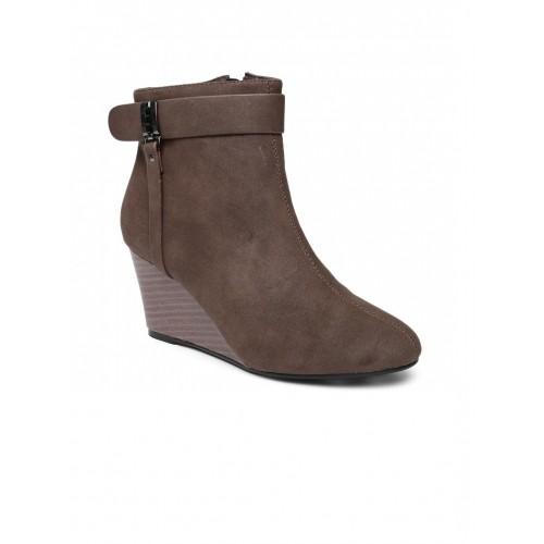9ec59afb1 Buy Allen Solly Women Brown Solid Heeled Boots Heels online ...